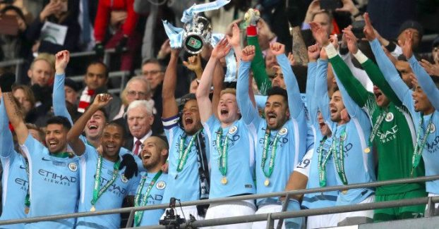 Image result for pic of man city win carabao cup
