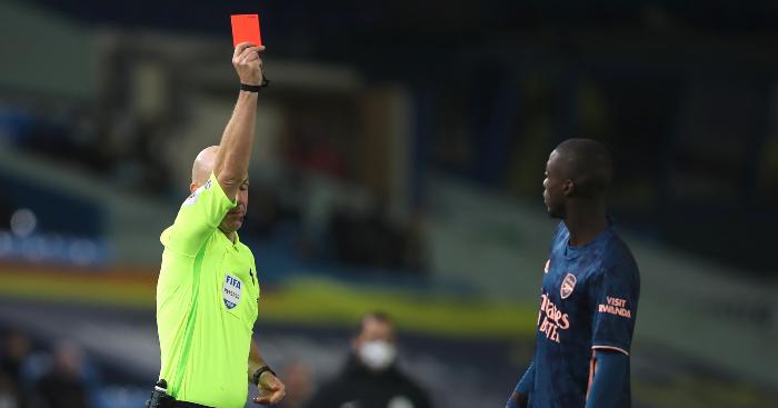 Nicolas Pepe Arsenal red card Leeds United