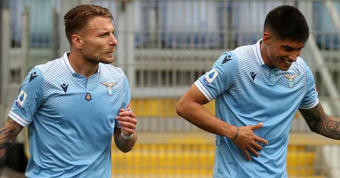 Ciro Immobile and Joaquin Correa celebrating after a Lazio goal in 2021