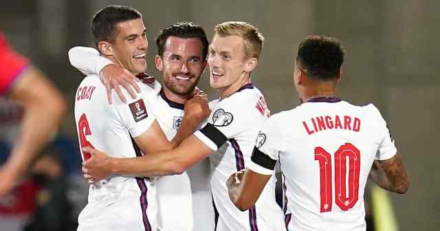 Ben Chilwell, Conor Coady, James Ward-Prowse, Jesse Lingard Andorra v England, October 2021