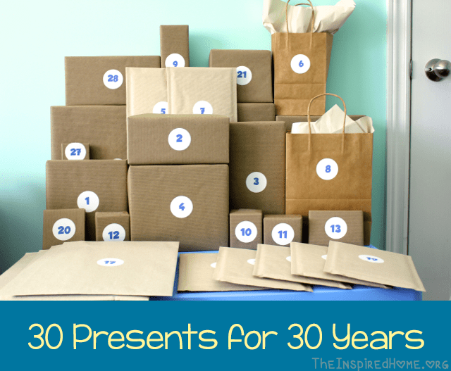 30th Birthday Gift Idea 30 Presents For 30 Years The Inspired Home