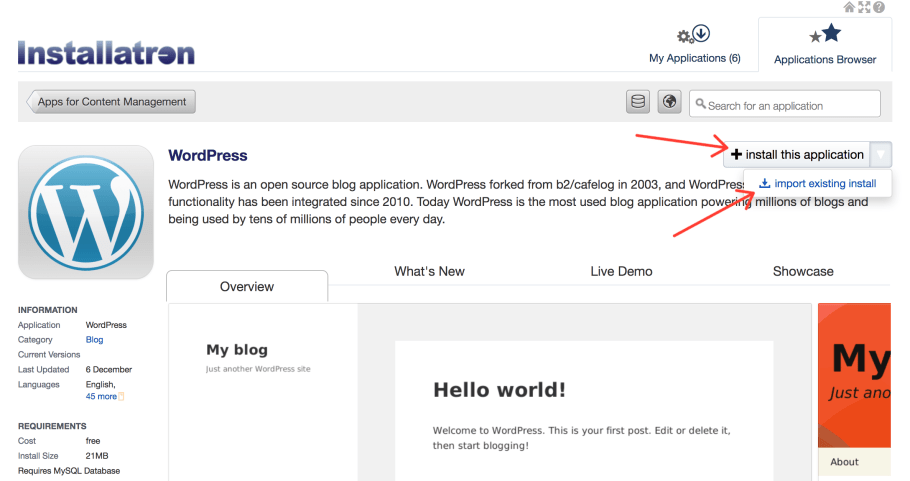 WordPress cPanel Installatrom