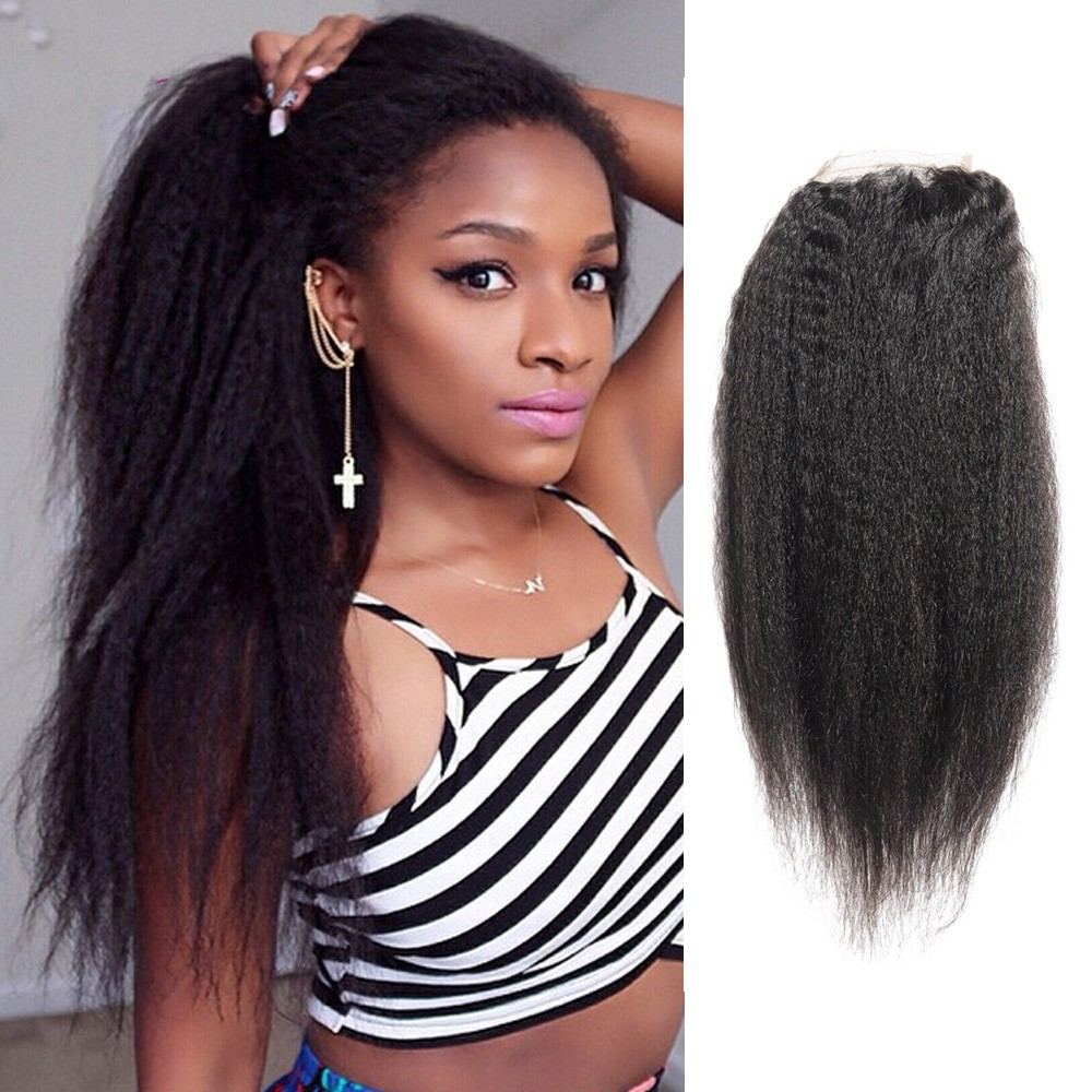 Brazilian Virgin Hair Kinky Straight With Free Part Lace
