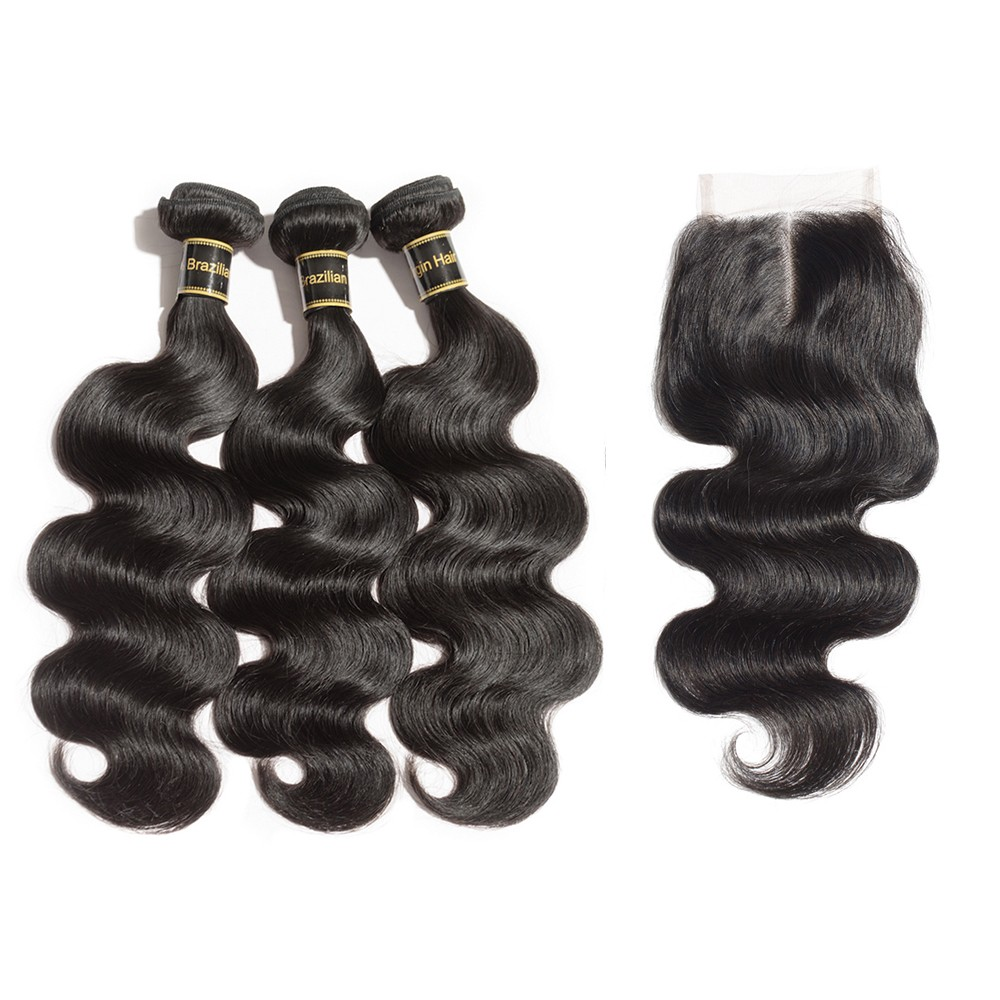 3 Bundles Virgin Hair With Middle Part 4x4 Lace Frontal