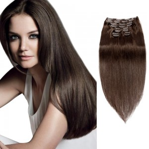 200g 22 Inch #2 Darkest Brown Straight Clip In Hair