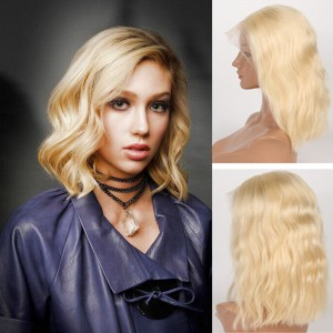 Pre-Plucked Brazilian Virgin Hair Lace Front #613 Body Wavy Bob Wigs