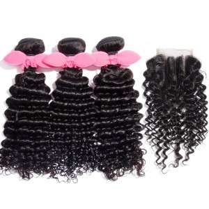 3 Bundles Deep Curly Brazilian Virgin Hair 300g With 4*4 Deep Curly 3 Part Lace Closure