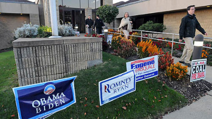 Early voters leave the Green Tree Municipal Building after casting their ballot.