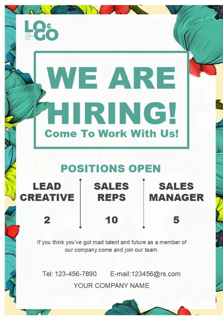 انخفاض مستطيل لافتة hiring poster template free