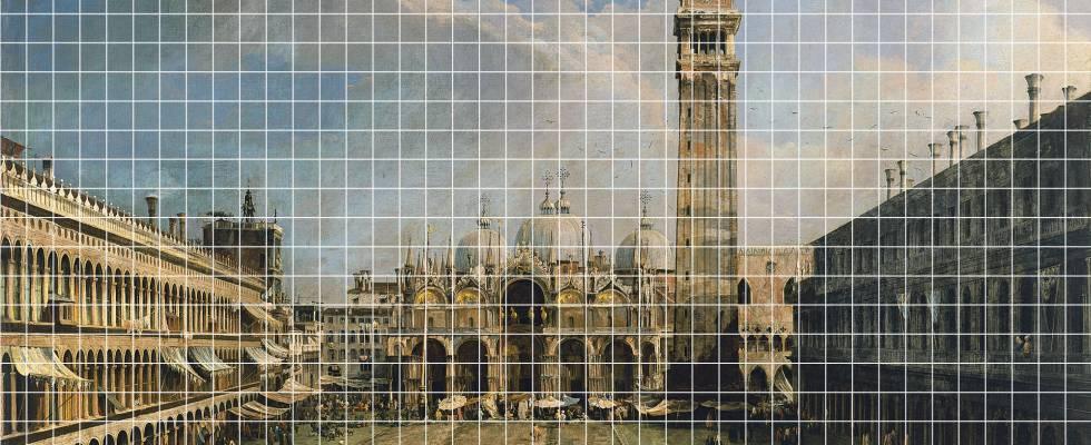Parte del Canaletto, dividido en 1.000 partes antes de la campaña de donaciones.