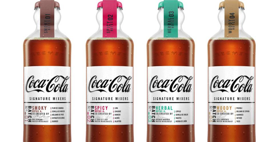 Las cuatro variantes de la nueva gama de refresos de Coca-Cola, los Signature Mixers.