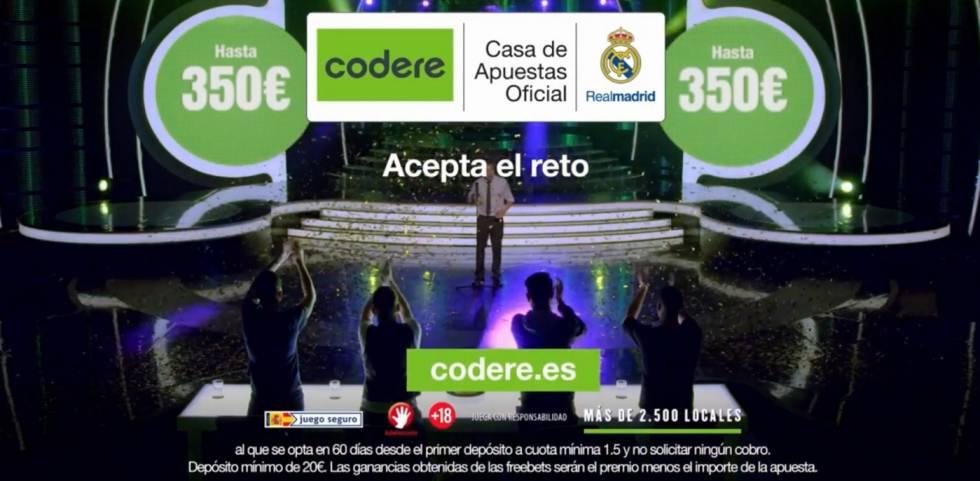 Anuncio de Codere en el que aparecen jugadores del Real Madrid