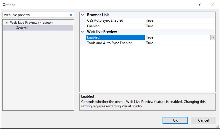 """Aperçu Web en direct (aperçu)> Général. Options de lien du navigateur: les deux CSS Auto Link Enabled et Enabled sont définis sur true. Options d'aperçu Web en direct: à la fois Activé et Outils et Synchronisation automatique activée sont définis sur true."""" title=""""Activer WLP à partir des options de Visual Studio""""/></li data-recalc-dims="""
