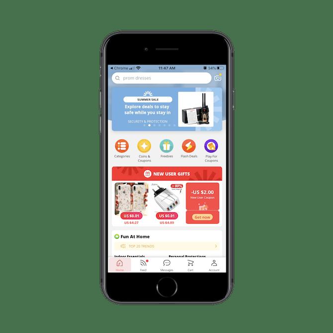 La page d'accueil AliExpress sur l'application mobile propose de nombreux coupons, cadeaux et ventes flash.
