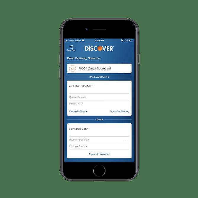 L'écran d'accueil de l'application Discover bancaire et de prêt.