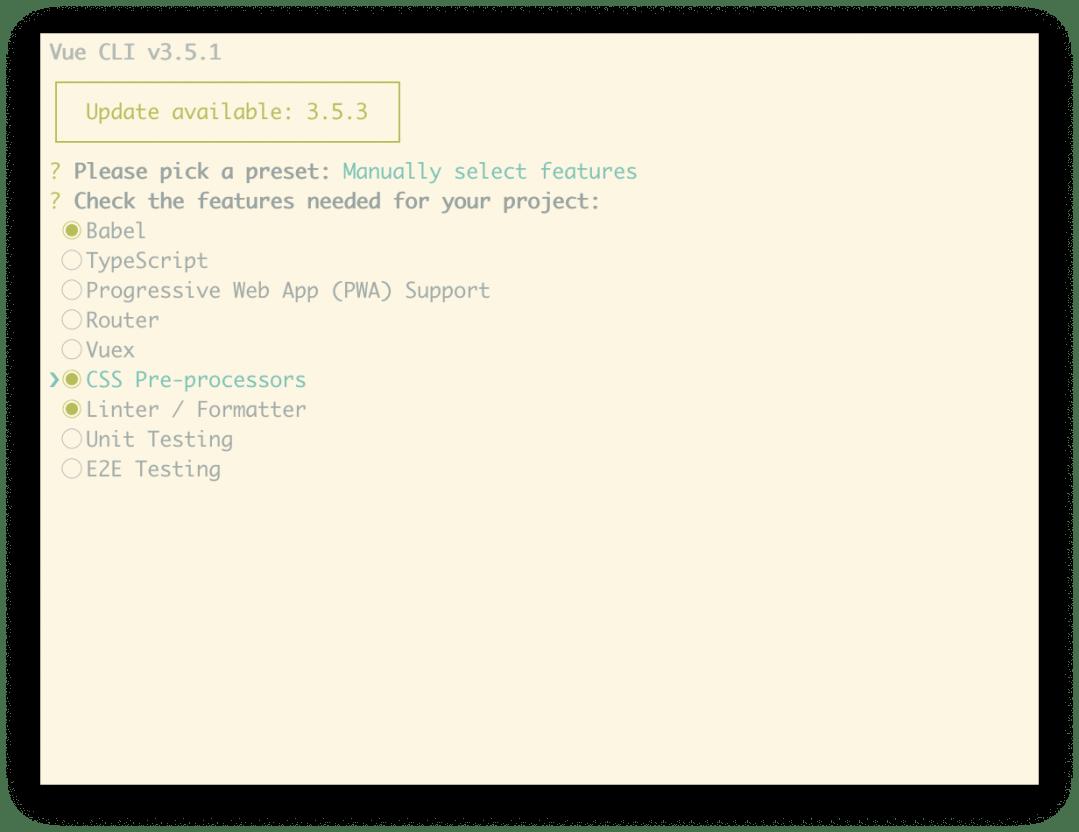 Choisissez le préréglage: manuel. Vérifiez les fonctionnalités nécessaires à votre projet: Babel. Pré-processeurs CSS: Linter / formatter.