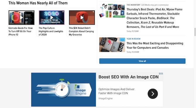 La page d'accueil de Gizmodo comprend une publicité pour Image CDN ainsi qu'une publication éventuellement sponsorisée pour les «Meilleures offres du jeudi».