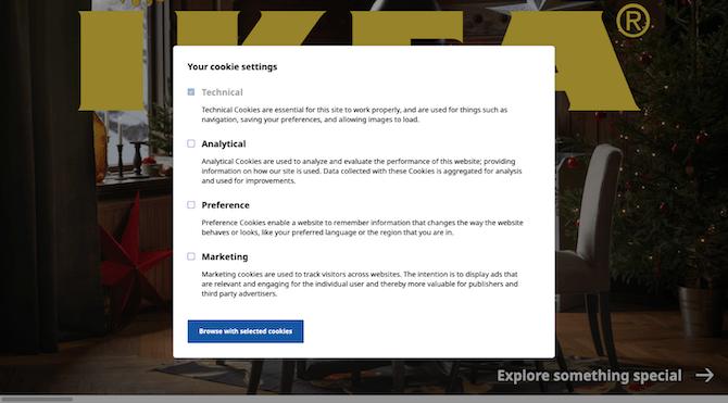 IKEA offre aux visiteurs la possibilité de choisir les cookies que le site Web suit: technique (obligatoire), analytique, préférence et marketing.
