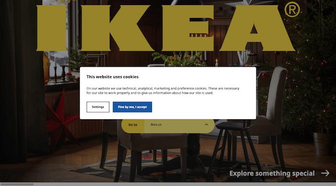 """Avant que les visiteurs accèdent au site Web IKEA, ils reçoivent une brève explication sur pourquoi """"Ce site utilise des cookies"""". Ils ont la possibilité d'accepter ou d'ajuster le ir cookies settings."""