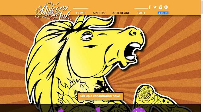 La page d'accueil du site Web Unicorn Ink comprend des liens vers quatre canaux de médias sociaux: Facebook, Twitter, Instagram et Yelp.
