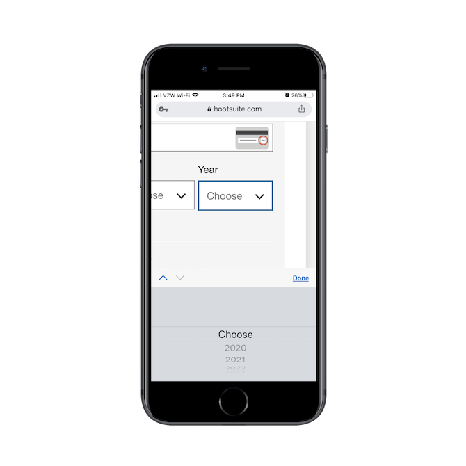 Hootsuite réduit la nécessité pour les utilisateurs mobiles de taper chaque réponse avec des valeurs prédéfinies qu'ils peuvent faire défiler, comme le «mois» ou «l'année» lors de la saisie d'une carte de crédit.