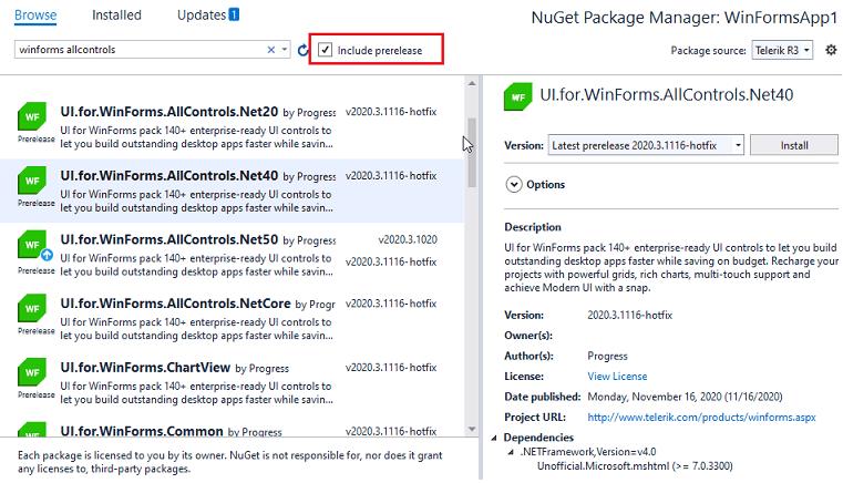 Installation des dernières versions internes via NuGet pour l'interface utilisateur Telerik pour WinForms, en sélectionnant