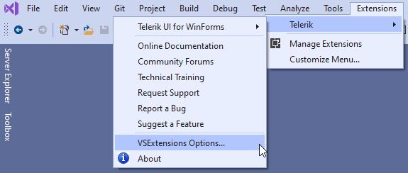 Sélection de l'interface utilisateur Telerik pour WinForms Options d'extensions Visual Studio dans le menu Extensions de Visual Studio.