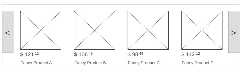 une maquette d'une liste de produits montrant un espace réservé pour l'image, le nom du produit et le prix de chaque produit