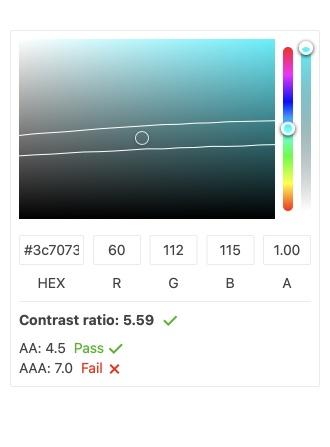 """Le composant KendoReact ColorPicker est ouvert avec ses outils de sélection de couleurs, y compris HEX et RVB. La couleur est réglée sur un turquoise. Le rapport de contraste est affiché: 5,59 et les directives AA de 4,5 montrent la réussite, tandis que les directives AAA de 7,0 échouent. """"Title ="""" KendoReact ColorPicker Component - Contrast Color"""