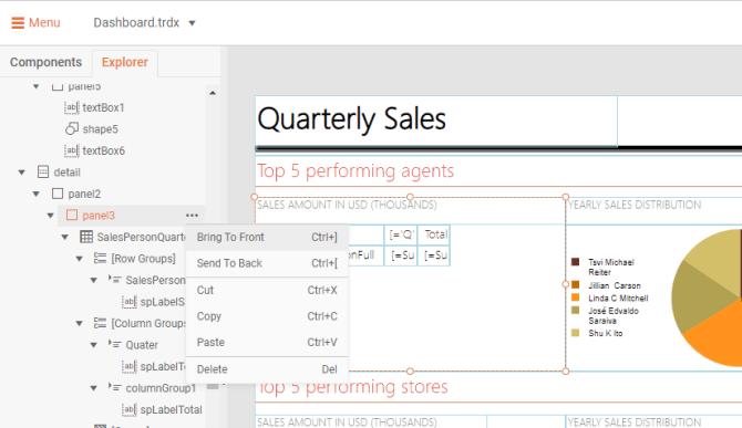 """Sur un rapport des ventes trimestrielles, nous sommes dans Menu> Explorateur> détail> panneau3> menu à trois points. Les deux premières options sont Placer au premier plan et Envoyer à l'arrière."""" title=""""Apporter au premier plan et Envoyer à l'arrière""""/></p data-recalc-dims="""