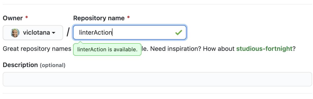 Création d'un référentiel GitHub appelé linterAction