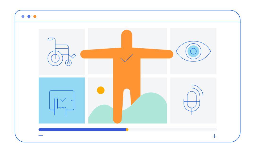 Illustration présentant diverses icônes associées à l'accessibilité (navigation vocale, lecteurs d'écran, etc.)