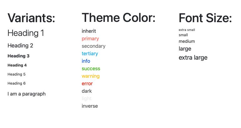 KendoReact Typography Component - Vue d'ensemble montrant plusieurs styles de polices (titres, messages de réussite et d'avertissement, etc.)