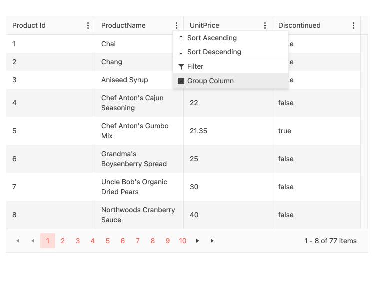 KendoReact Grid Component - Grouper et dissocier le menu par colonne