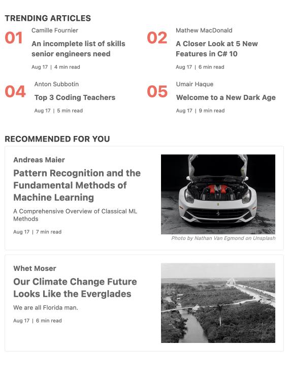 KendoReact GridLayout Component - Aperçu - En haut se trouvent quatre articles tendance, répertoriés deux par deux avec auteur, titre, date, durée de lecture. Vous trouverez ci-dessous des articles recommandés dans une mise en page de carte, avec les mêmes informations textuelles, plus une image pour chaque article.