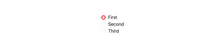 Kendo UI pour les composants Vue RadioButton et RadioGroup. First, Second, Third sont des options radio, et First a été sélectionné, ajoutant un contour rose épais à son cercle ouvert.