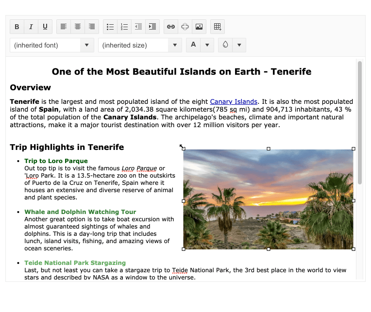 Une fenêtre d'éditeur avec du texte et une image fait apparaître les petits carrés de redimensionnement autour de l'image.