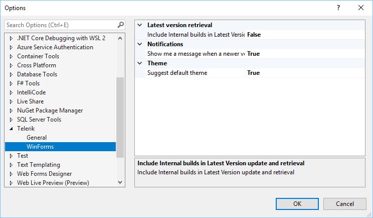 """Le menu de la fenêtre Options est défini sur Telerik> WinForms. Les options sont définies: Récupération de la dernière version> False; Notifications> Vrai; Thème (Suggérer un thème par défaut)> Vrai. """"Title ="""" options-default-theme """"/></p data-recalc-dims="""