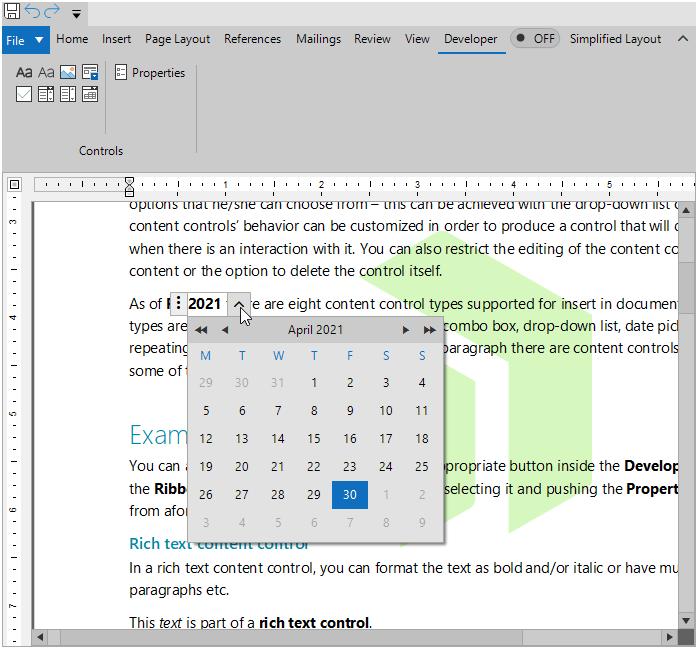 """Un éditeur de texte montre que nous sommes ouverts au ruban Développeur> Contrôles, qui a plusieurs options d'icônes et propriétés. Dans la fenêtre de l'éditeur, un morceau de texte est mis en surbrillance - 2021 - et un calendrier est apparu pour permettre la sélection de la date. """"Title ="""" 05ContentControlVol2 """"data-openoriginalimageonclick ="""" true """"/> </a data-recalc-dims="""