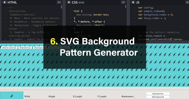 Free SVG Vector Pattern Generators Code CSS HMTL Javascript