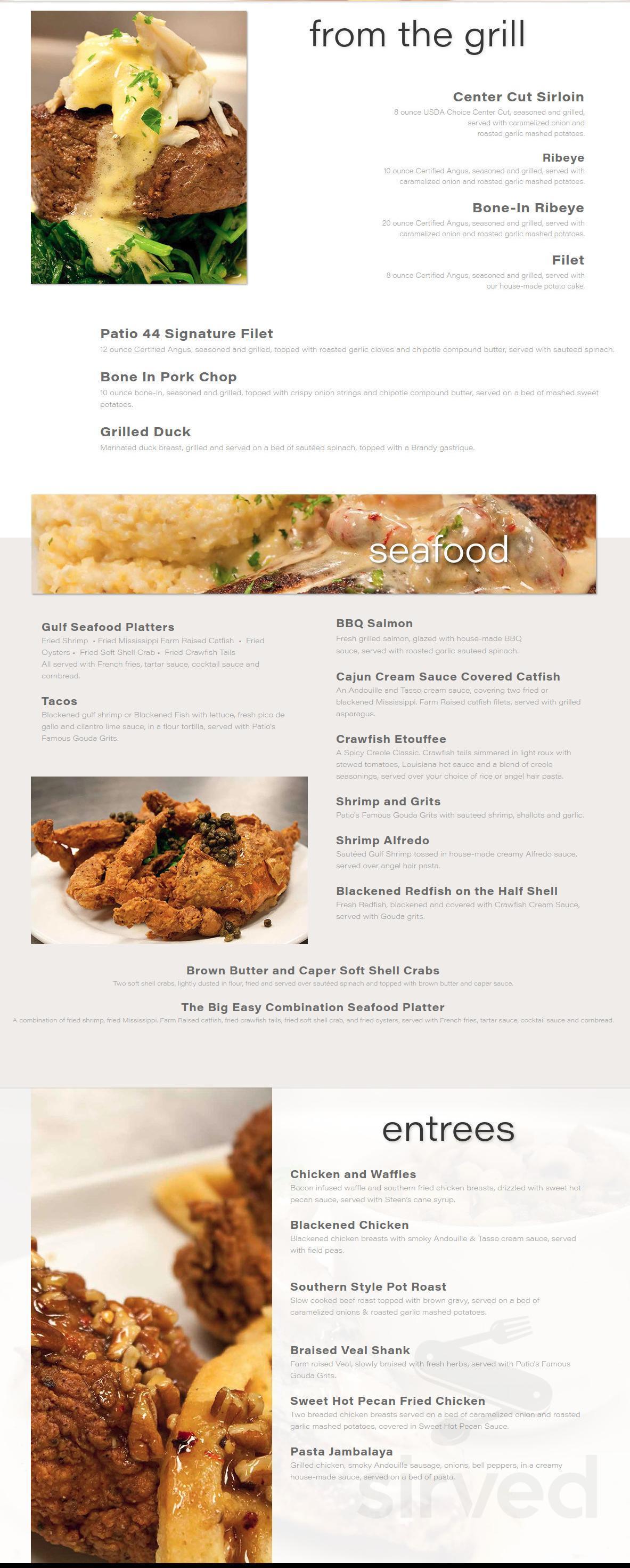 patio 44 menu in hattiesburg