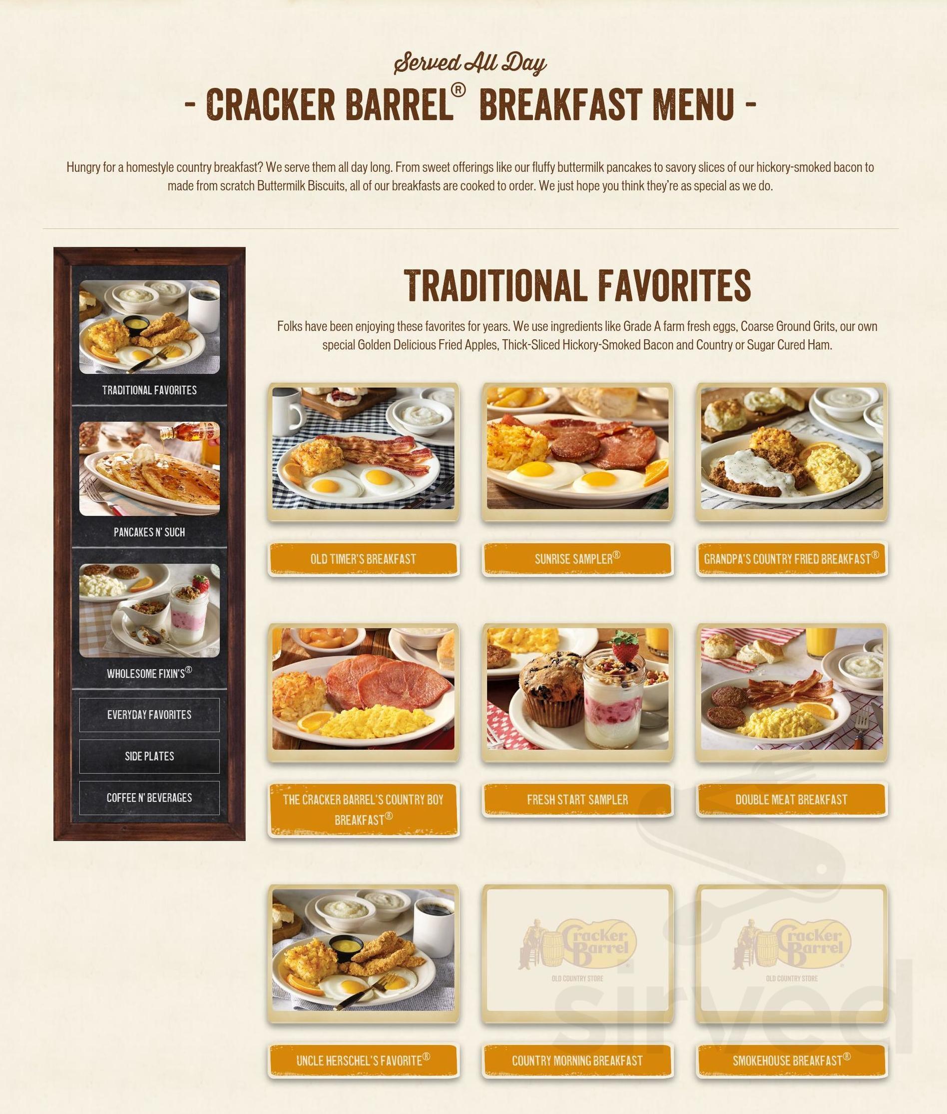 cracker barrel menu in flat rock north