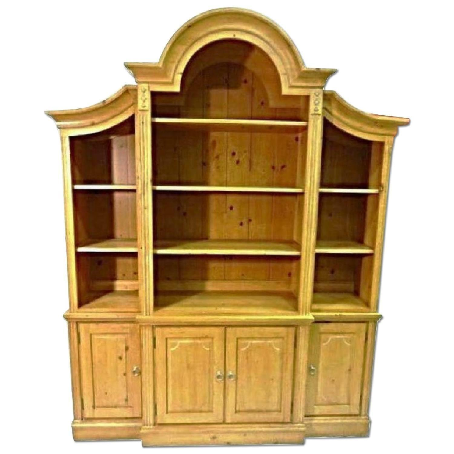 Ethan Allen French Country Pine Hutch China Cabinet