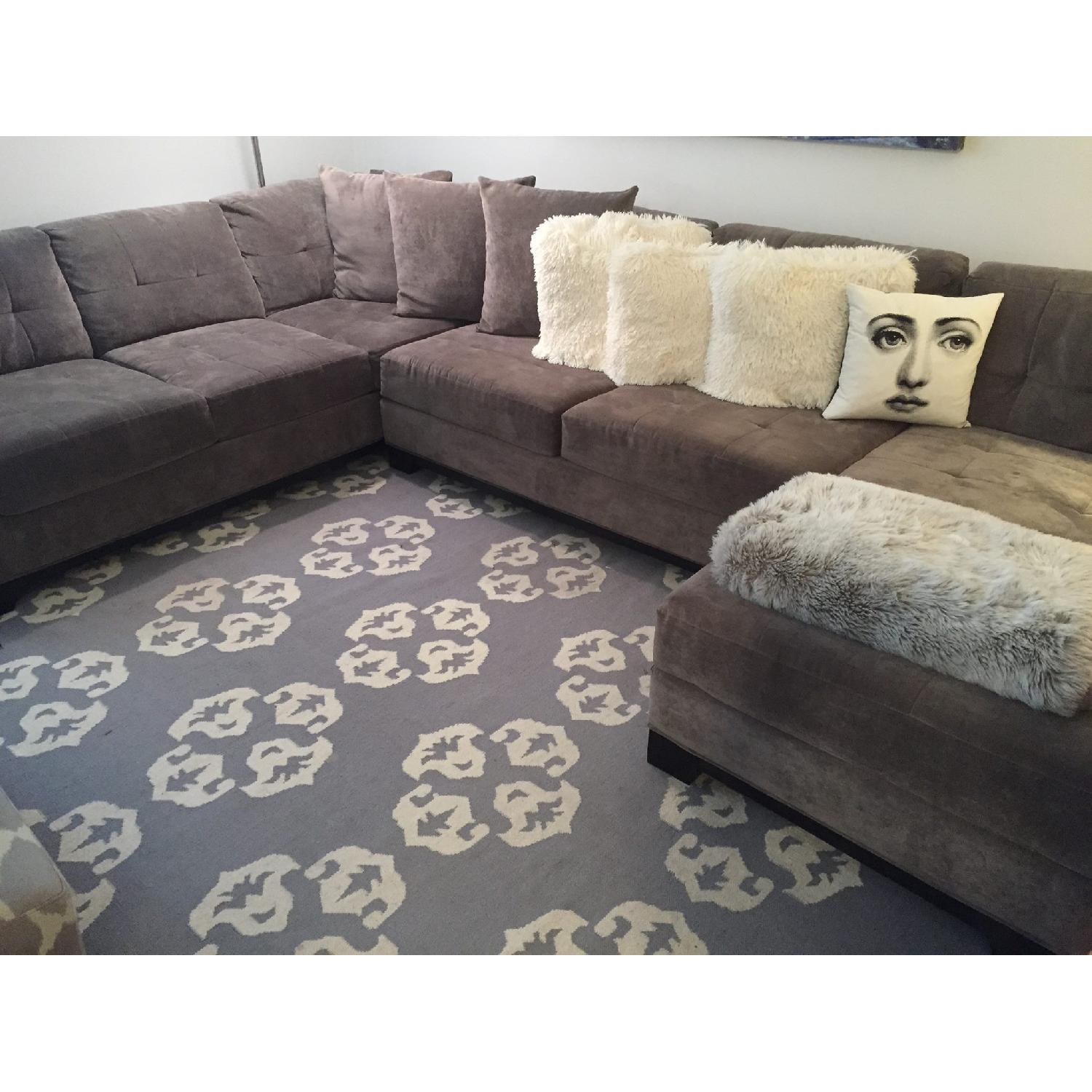 macy s grey suede sectional sofa