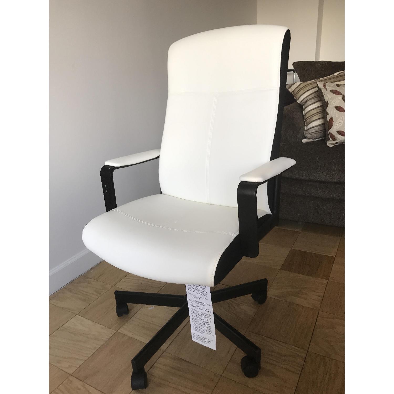 Ikea White Black Leather Office Chair Aptdeco