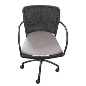 Ikea Black Grey Swivel Office Chair W Rattan Backrest Aptdeco