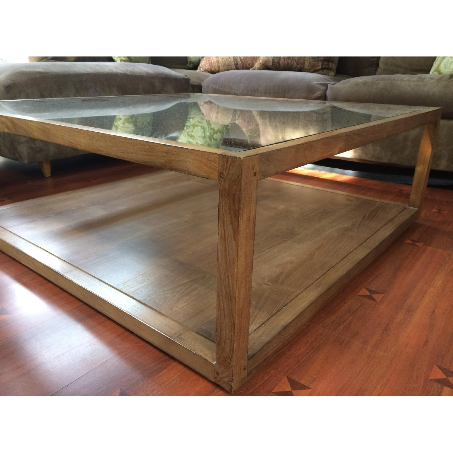 crate barrel teak glass structure square coffee table