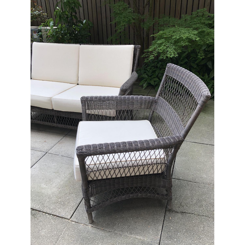 terrain trellis weave wicker outdoor patio sofa 2 chairs