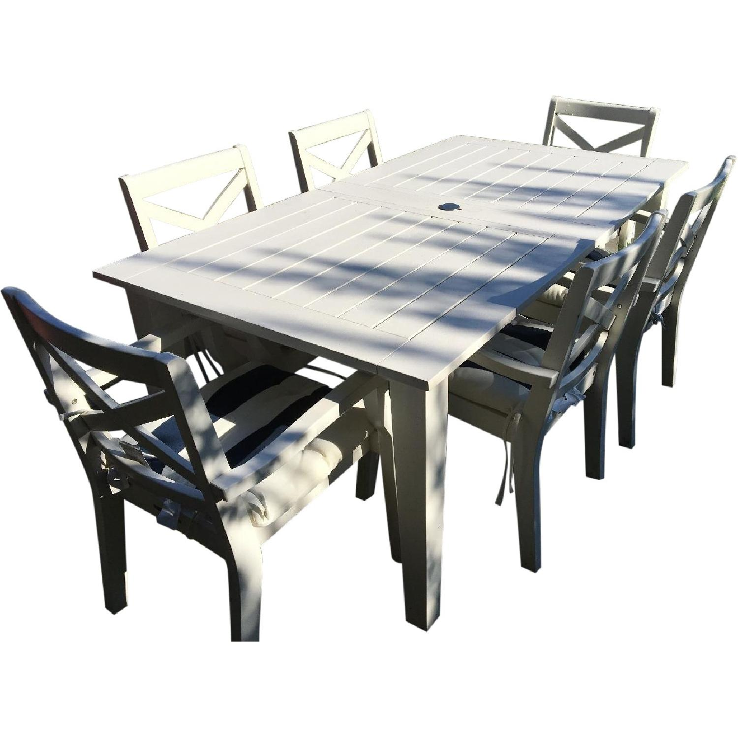 pottery barn outdoor extending table w 6 chairs in white