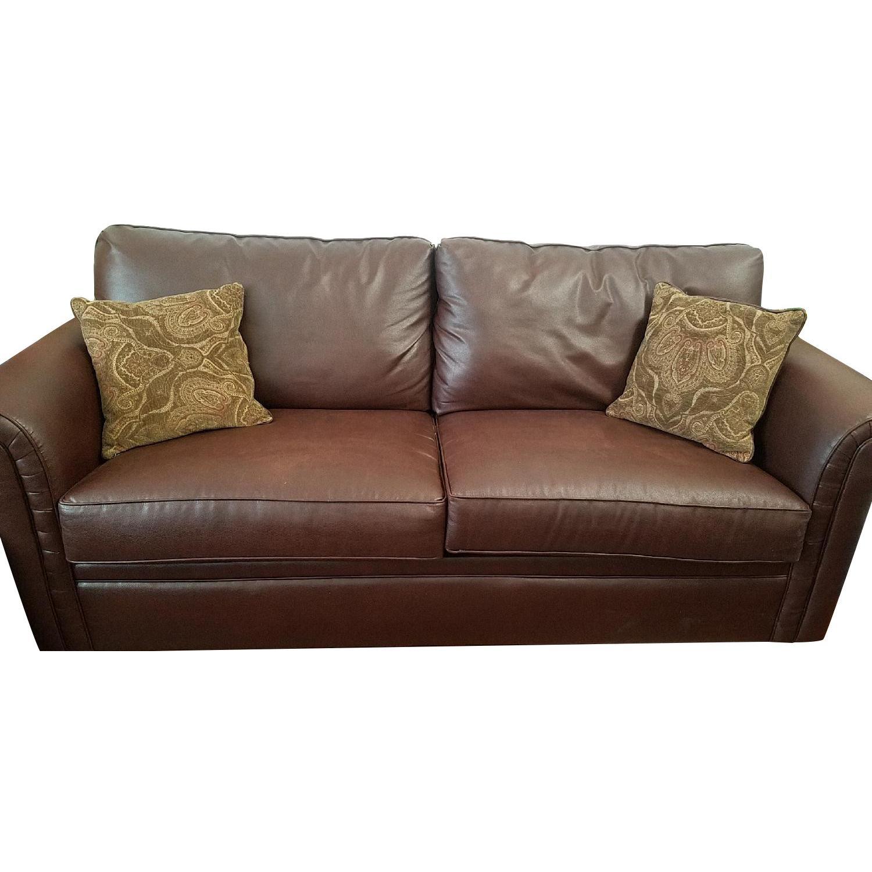 Bob S Faux Leather Queen Size Sleeper Sofa Aptdeco